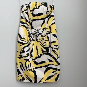 Express Yellow & Black Printed Strapless Dress A5